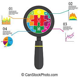 puzzel, vergrößerungsglas, info