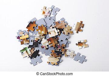 puzzel, weißes, bunte, freigestellt