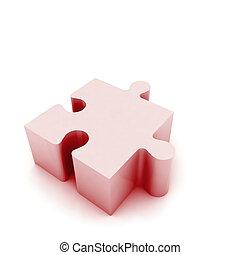 puzzel, weißes, freigestellt, abbildung, stück