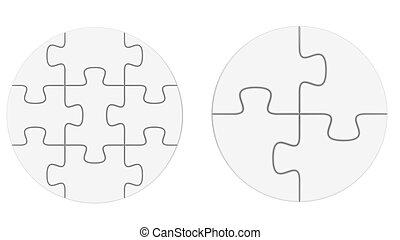 puzzel, weißes, freigestellt, leerer , 3d