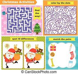 puzzel, weihnachten, spiele