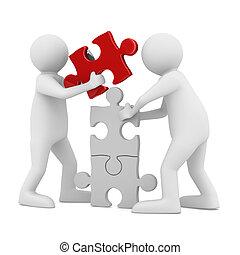 puzzel, zwei, freigestellt, bauen, white., mann, bild, 3d