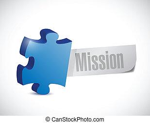 puzzelstuk, missie, illustratie, meldingsbord
