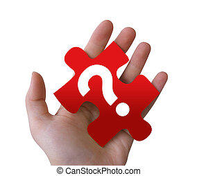 puzzelstuk, vraag, rood