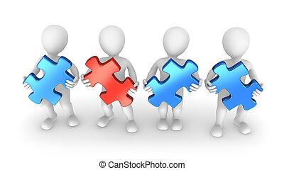 puzzelstukjes, 3d, mensen