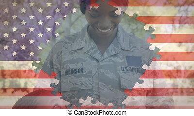 puzzelstukjes, animatie, vlag, v.s., op, uniform, gevormde, ...