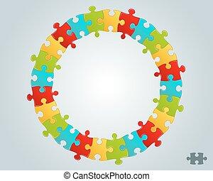puzzelstukjes, frame, kleurrijke, ronde