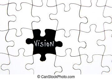 puzzelstukjes, -, met, woord, visie, in, black , chalkboard, ruimte