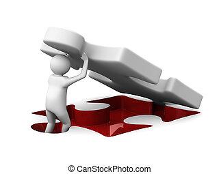 puzzl., avbild, 3, isolerat, man