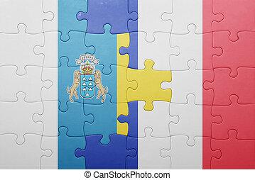 puzzle, à, les, drapeau national, de, îles canaries, et,...