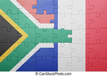 puzzle, à, les, drapeau national, de, afrique sud, et,...