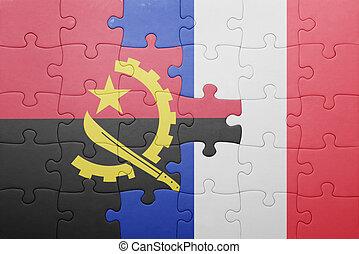 puzzle, à, les, drapeau national, de, angola, et, france