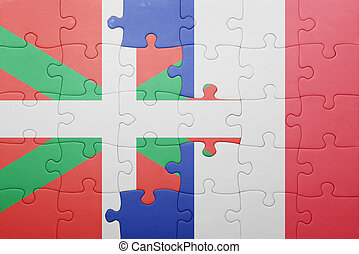 puzzle, à, les, drapeau national, de, basque, pays, et,...