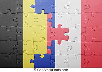 puzzle, à, les, drapeau national, de, belgique, et, france