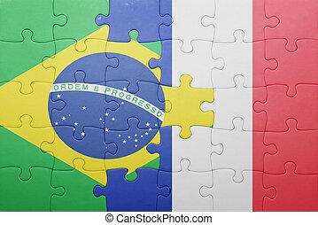 puzzle, à, les, drapeau national, de, brésil, et, france
