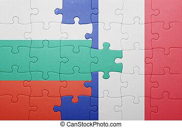 puzzle, à, les, drapeau national, de, bulgarie, et, france