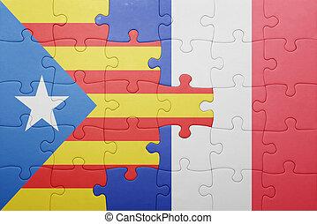 puzzle, à, les, drapeau national, de, catalogne, et, france