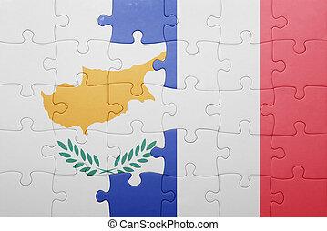 puzzle, à, les, drapeau national, de, chypre, et, france
