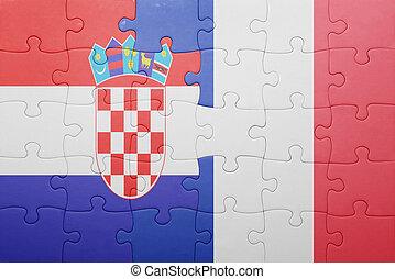 puzzle, à, les, drapeau national, de, croatie, et, france