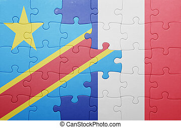 puzzle, à, les, drapeau national, de, démocratique,...
