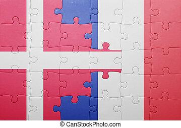 puzzle, à, les, drapeau national, de, danemark, et, france