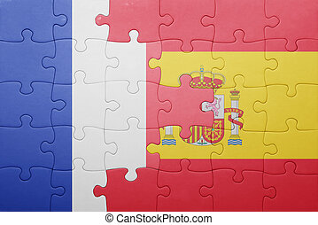 puzzle, à, les, drapeau national, de, espagne, et, france