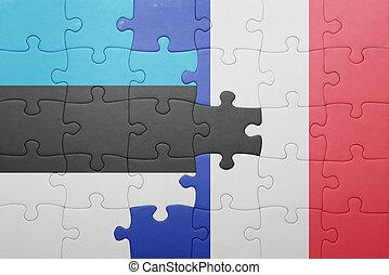 puzzle, à, les, drapeau national, de, estonie, et, france