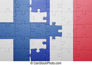 puzzle, à, les, drapeau national, de, finlande, et, france