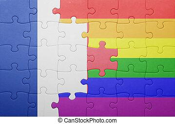 puzzle, à, les, drapeau national, de, france, et, gay,...