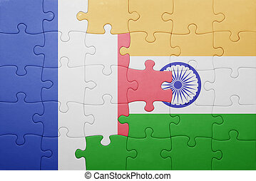 puzzle, à, les, drapeau national, de, france, et, inde