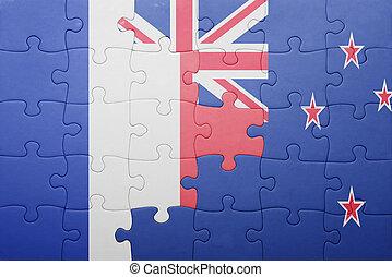 puzzle, à, les, drapeau national, de, france, et, nouvelle...