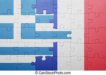 puzzle, à, les, drapeau national, de, grèce, et, france
