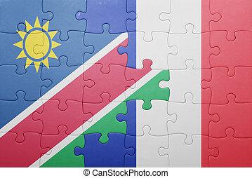 puzzle, à, les, drapeau national, de, namibie, et, france