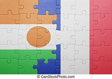 puzzle, à, les, drapeau national, de, niger, et, france