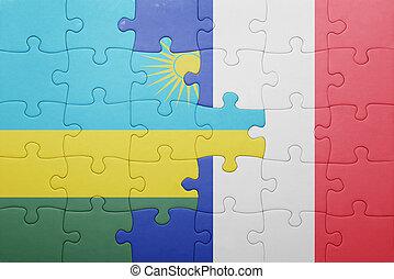 puzzle, à, les, drapeau national, de, rwanda, et, france