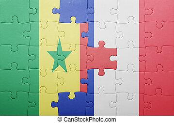 puzzle, à, les, drapeau national, de, sénégal, et, france