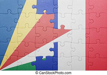puzzle, à, les, drapeau national, de, seychelles, et, france