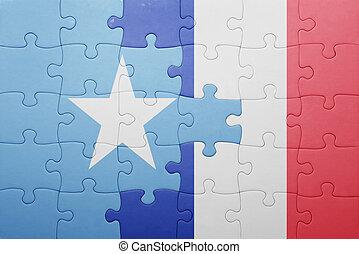 puzzle, à, les, drapeau national, de, somalie, et, france