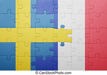 puzzle, à, les, drapeau national, de, suède, et, france