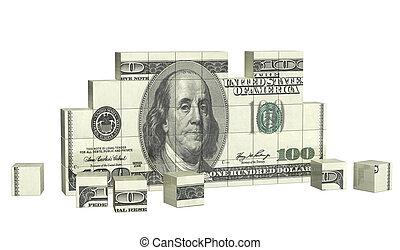 puzzle, éléments, dollar, billet banque
