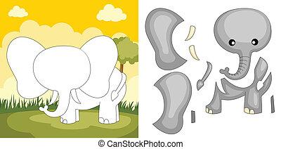 puzzle, éléphant