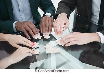puzzle., ビジネス, の上, .multinational, 終わり, チーム, 集まっていること