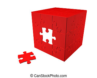 Puzzle 3D - Cube puzzle 3D render, isolated over white, red...