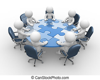 3d people - human character , person at a round table and puzzle pieces ( jigsaw). 3d render illustration