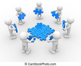 Puzzle - 3d people - human character , person in circle, and...