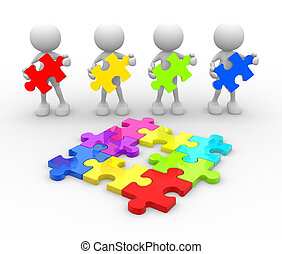 Puzzle - 3d people - men, person with last piece of puzzle.