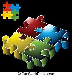 puzzle, 3d, pezzi