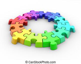 Puzzle - 3d piece of puzzle( jigsaw). 3d render