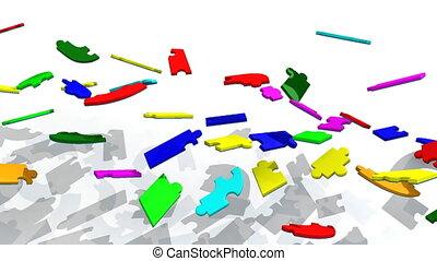 puzzle, 3d, projection, coopération, titre