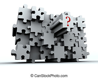 """Conceptual puzzle wall with """"question"""" sign on last piece - rendered in 3d"""